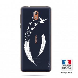 Coque compatible Nokia 3.1 souple motif Plume et envol d'oiseaux - Crazy Kase