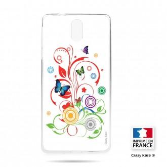 Coque compatible Nokia 3.1 souple motif Papillons et Cercles sur fond blanc - Crazy Kase