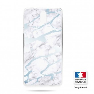 Coque compatible Nokia 3.1 souple effet Marbre bleu - Crazy Kase