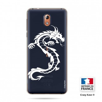Coque compatible Nokia 3.1 souple Dragpon blanc- Crazy Kase