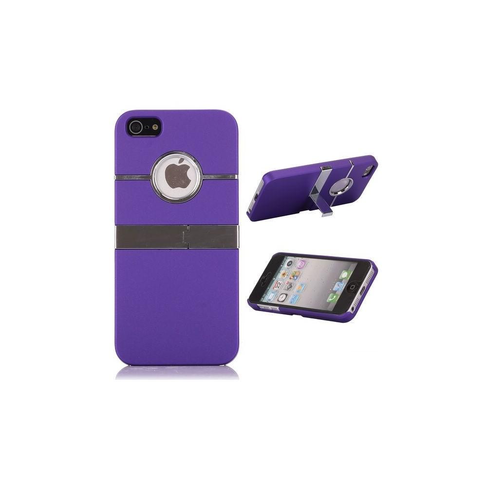 Coque plastique logo apparent support TV violet pour iPhone 5