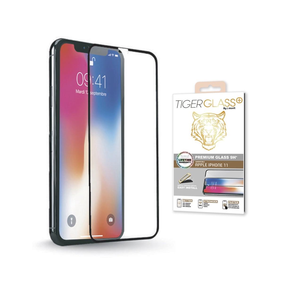 """Protection en verre trempé pour iPhone 11 (6.1"""") (A2221) Tiger Glass Plus par Muvit"""