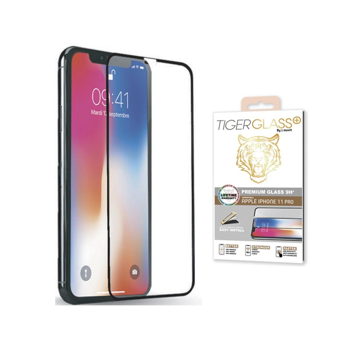 Film pour iPhone 11 protection écran verre trempé avec applicateur - Muvit
