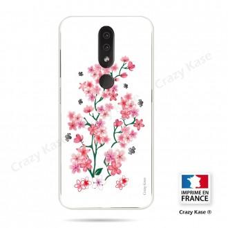 Coque compatible Nokia 4.2 souple Fleurs de Sakura sur fond blanc- Crazy Kase
