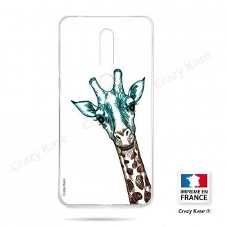 Coque compatible Nokia 4.2 souple Tête de Girafe sur fond blanc- Crazy Kase