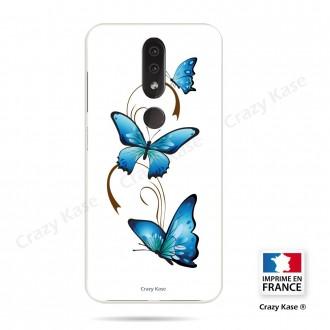 Coque compatible Nokia 4.2 souple Papillon sur Arabesque sur fond blanc- Crazy Kase