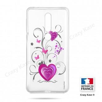 Coque compatible Nokia 4.2 souple Cœur et papillon - Crazy Kase