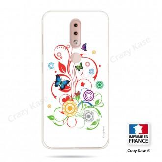 Coque compatible Nokia 4.2 souple  Papillons et Cercles sur fond blanc - Crazy Kase
