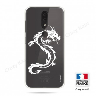 Coque compatible Nokia 4.2 souple Dragon Blanc - Crazy Kase