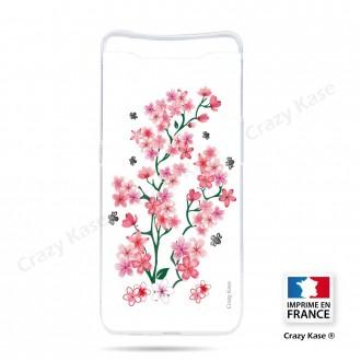 Coque compatible Galaxy A80 souple Fleurs de Sakura sur fond blanc- Crazy Kase