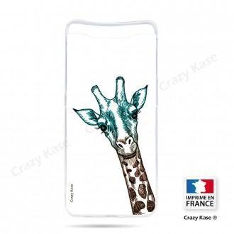 Coque compatible Galaxy A80 souple Tête de Girafe sur fond blanc- Crazy Kase
