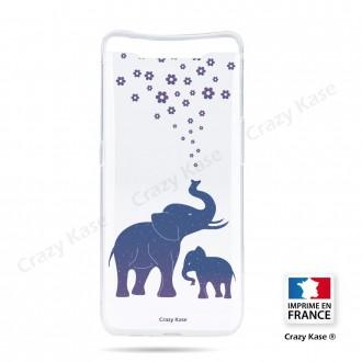 Coque compatible Galaxy A80 souple Eléphant Bleu - Crazy Kase