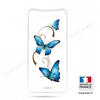 Coque compatible Galaxy A80 souple Papillon sur Arabesque sur fond blanc- Crazy Kase