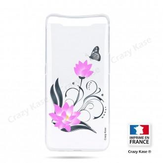 Coque compatible Galaxy A80 souple Fleur de lotus et papillon- Crazy Kase