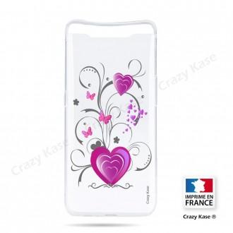 Coque compatible Galaxy A80 souple Cœur et papillon - Crazy Kase