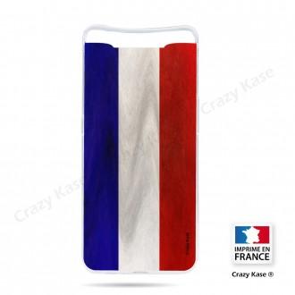 Coque compatible Galaxy A80 souple Drapeau Français Vintage- Crazy Kase