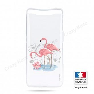 Coque compatible Galaxy A80 souple Flamant rose - Crazy Kase