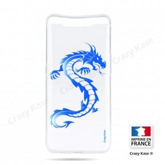 Coque compatible Galaxy A80 souple Dragon bleu - Crazy Kase
