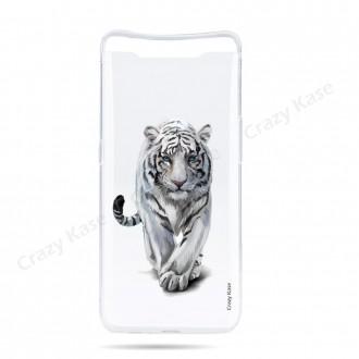Coque compatible Galaxy A80 souple Tigre blanc - Crazy Kase