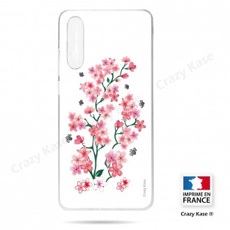 Coque compatible Galaxy A50 souple Fleurs de Sakura sur fond blanc- Crazy Kase