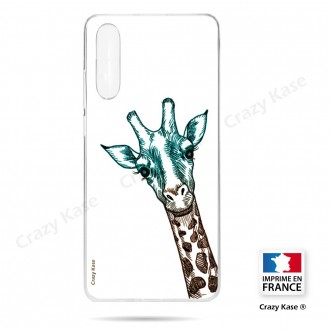 Coque compatible Galaxy A50 souple Tête de Girafe sur fond blanc- Crazy Kase