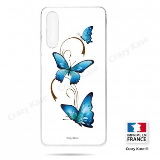 Coque compatible Galaxy A50 souple Papillon sur Arabesque sur fond blanc- Crazy Kase