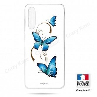 Coque compatible Galaxy A50 souple Papillon sur Arabesque sur fond blanc- Crazy Kase
