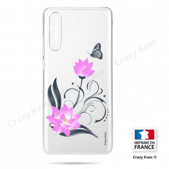Coque compatible Galaxy A50 souple Fleur de lotus et papillon- Crazy Kase