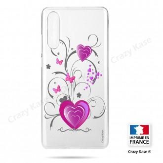 Coque compatible Galaxy A50 souple Cœur et papillon - Crazy Kase