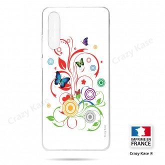 Coque compatible Galaxy A50 souple  Papillons et Cercles sur fond blanc - Crazy Kase