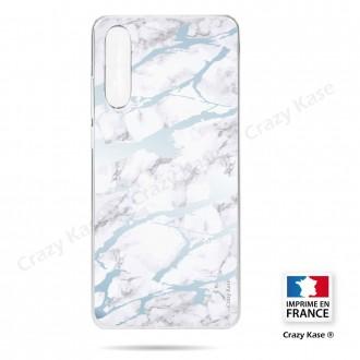 Coque compatible Galaxy A50 souple effet Marbre bleu - Crazy Kase