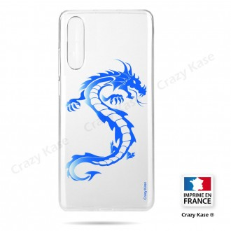 Coque compatible Galaxy A50 souple Dragon bleu - Crazy Kase