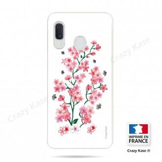 Coque compatible Galaxy A20e souple Fleurs de Sakura sur fond blanc- Crazy Kase