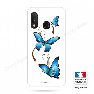 Coque compatible Galaxy A20e souple Papillon sur Arabesque sur fond blanc- Crazy Kase