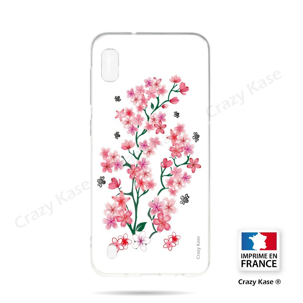Coque compatible Galaxy A10 souple Fleurs de Sakura sur fond blanc- Crazy Kase