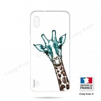 Coque compatible Galaxy A10 souple Tête de Girafe sur fond blanc- Crazy Kase