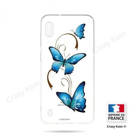 Coque compatible Galaxy A10 souple Papillon sur Arabesque sur fond blanc- Crazy Kase