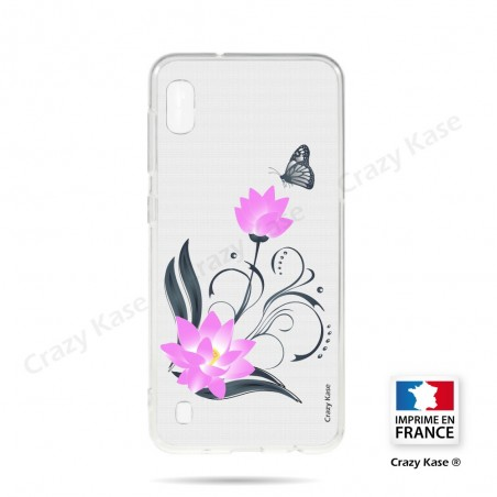 Coque compatible Galaxy A10 souple Fleur de lotus et papillon- Crazy Kase