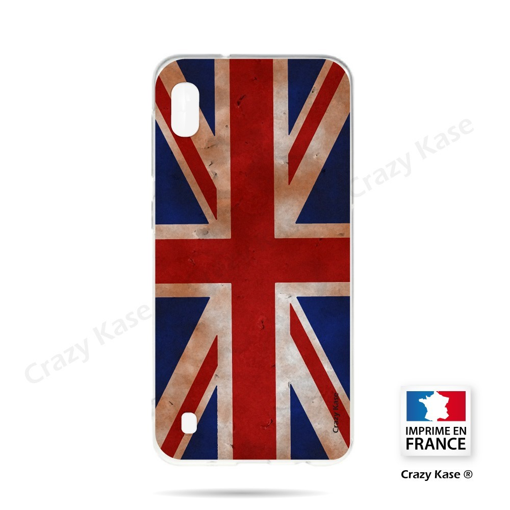 Coque compatible Galaxy A10 souple Drapeau UK vintage - Crazy Kase