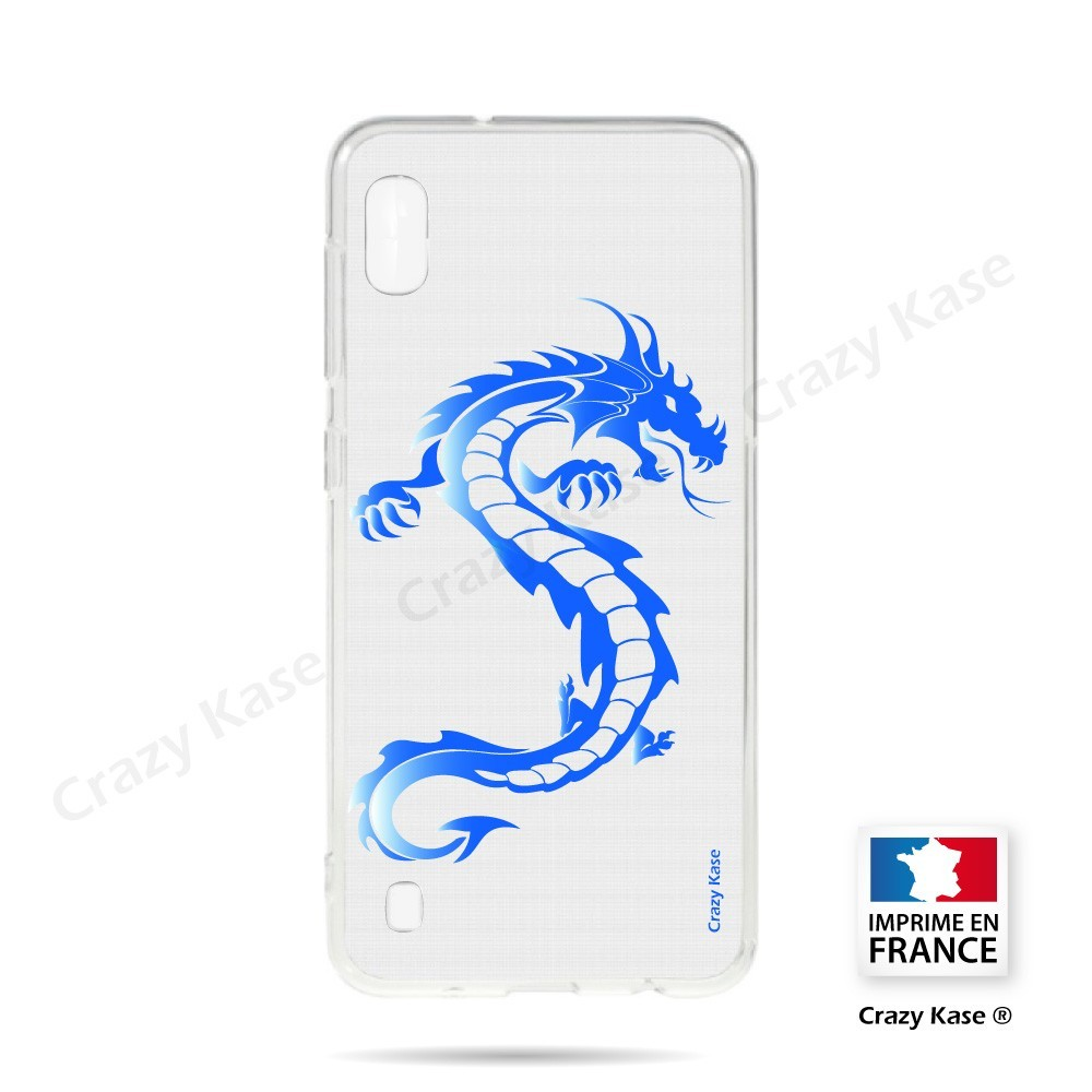 Coque compatible Galaxy A10 souple Dragon bleu - Crazy Kase