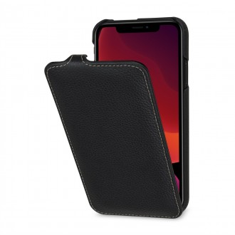 Etui compatible iPhone 11 ultraslim grainé noir en cuir véritable - Stilgut
