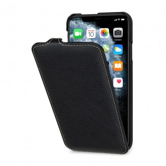 Etui compatible iPhone 11 Pro ultraslim grainé noir en cuir véritable - Stilgut