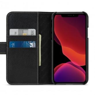 Etui compatible avec iPhone 11 porte-cartes Noir nappa en cuir véritable - Stilgut