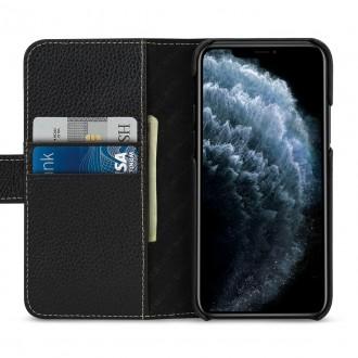 Etui compatible avec iPhone 11 porte-cartes grainé Noir en cuir véritable - Stilgut