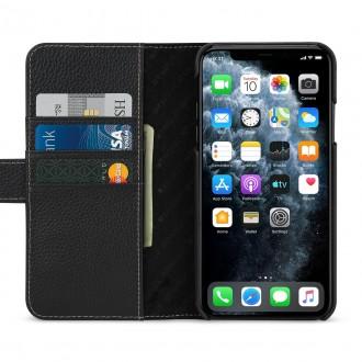 Etui compatible avec iPhone 11 Pro porte-cartes grainé Noir en cuir véritable - Stilgut