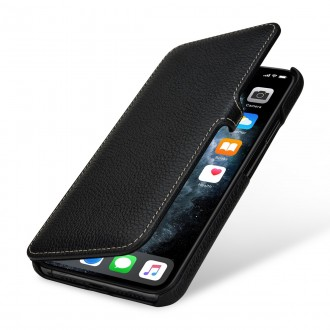 Etui compatible iPhone 11 Pro book type grainé noir en cuir véritable - Stilgut