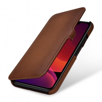 Etui compatible iPhone 11 book type marron en cuir véritable - Stilgut