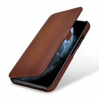 Etui compatible iPhone 11 Pro book type marron en cuir véritable - Stilgut