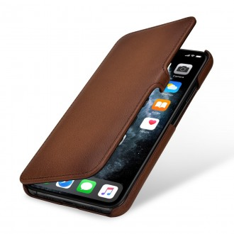 Etui compatible iPhone 11 Pro Max book type marron en cuir véritable - Stilgut