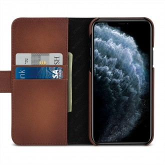 Etui compatible avec iPhone 11 Pro porte-cartes marron en cuir véritable - Stilgut